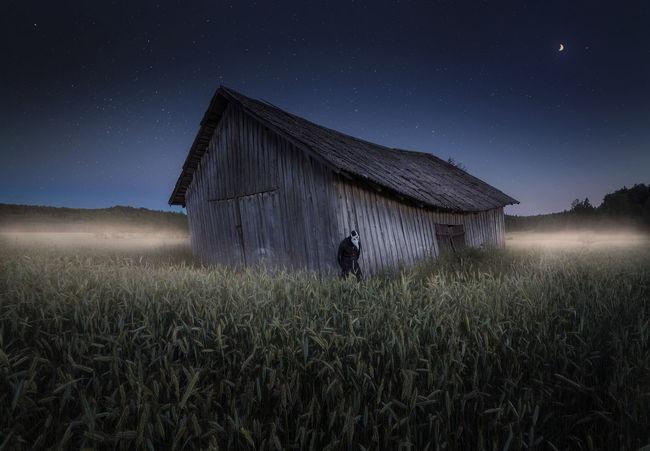 Barn Dark Field Finland Misty Moon Blue Fog Night Nightscape Plague Doctor Stars