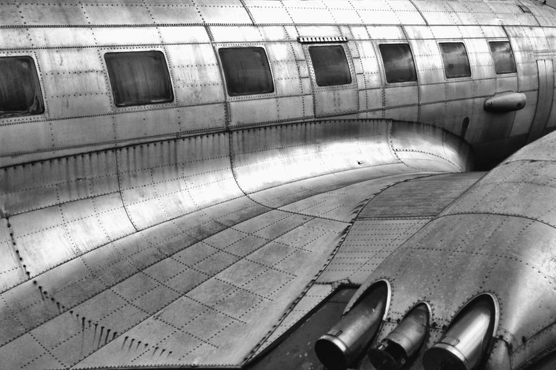High angle view of old airplane