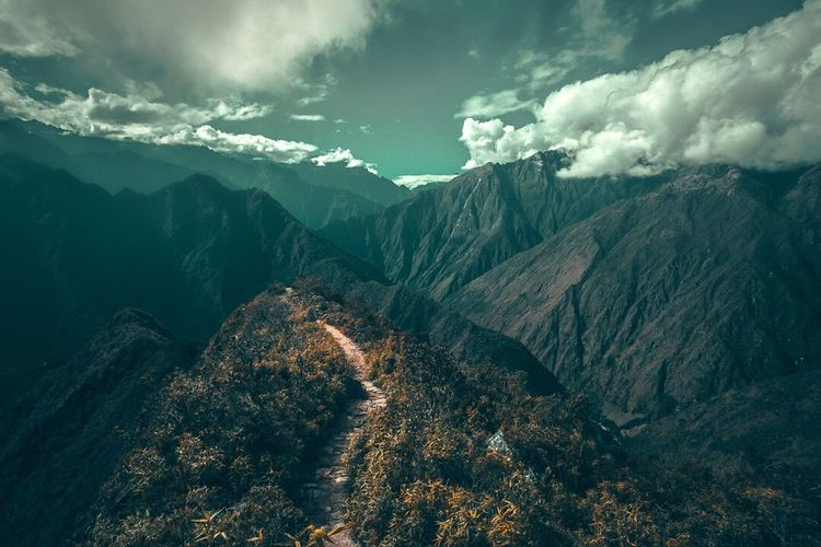 Pathway to the heavens Travel Destinations EyeEm Best Edits Creative EyeEm Best Shots Mountain Cloud - Sky Scenics - Nature Beauty In Nature Sky Tranquil Scene Mountain Range Tranquility Environment Landscape No People Outdoors Nature