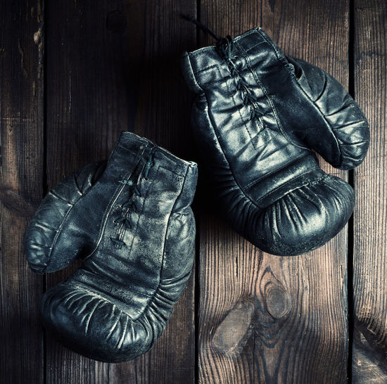 Directly Above Shot Of Boxing Gloves On Table
