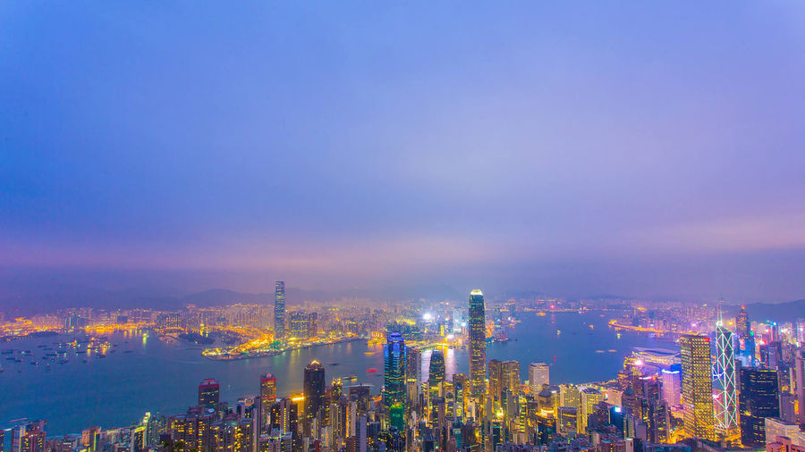 Hong Kong Sky View Architecture Blue Building Exterior Built Structure Business City Cityscape Downtown District Factory Illuminated Modern Night No People Outdoors Sky Skyscraper Travel Destinations Urban Skyline