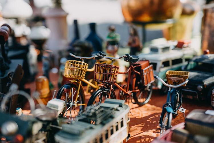 Close-up of bicycles at market stall