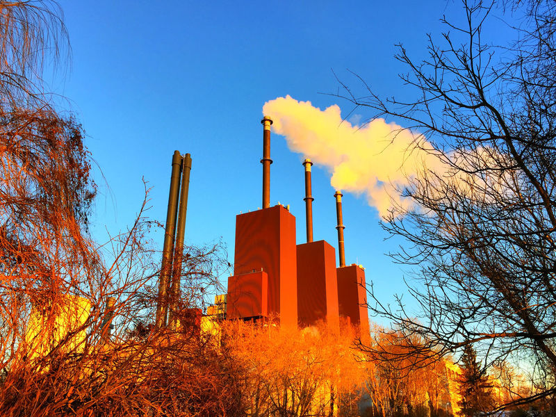 view at heating plant in Teltow Berlin Clear Sky Day Generating Plant Generating Station Heating Plant Heating Station Industrial Industry Industry No People Outdoors Power Plant Powerhouse Sky Smoke Smoke Stack Smoke Stack Smoke Stacks Teltow Teltow Kanal Teltowkanal Tree Water Vapor Water Vapour