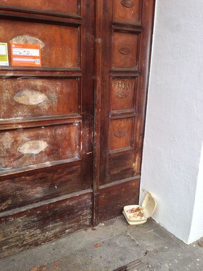 Abandoned Closed Dirty Door Entrance Food Trash Left On The Street Leftovers No People Rubbish Wood - Material