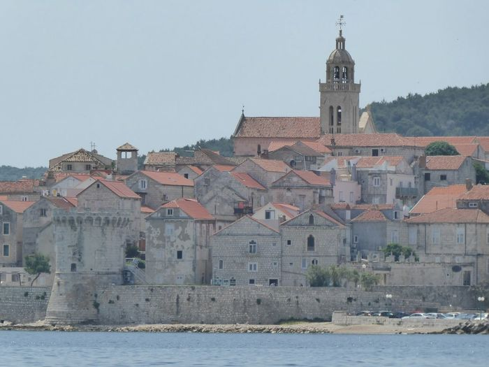 view on Korčula from the boat Cityscape City Clock Tower History Urban Skyline Architecture Sky Building Exterior Catholicism Church Place Of Worship Tower Bell Tower - Tower Calm Religion Christianity Tall - High Bell Tower