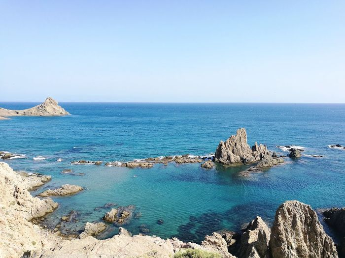 Cabo de Gata. Almería Sea Horizon Over Water Scenics Travel Destinations Beauty In Nature Clear Sky No People Beach Outdoors Water Nature Vacations Tranquility Day Sky