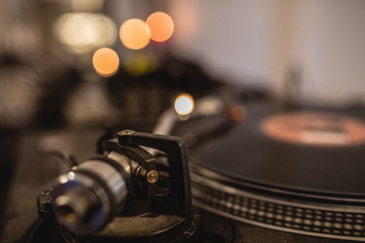 Close-up of record player needle