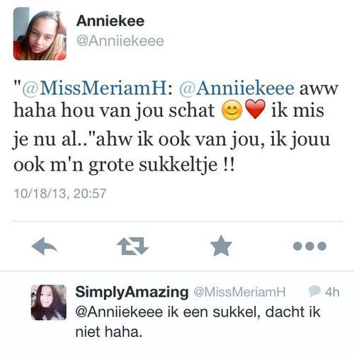 Tegenwoordig ben ik ook een dikke sukkel omdat ze het zelf zegt @anniiekeee Houvanjou