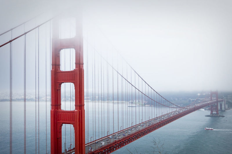 Bay Bay Area Bridge Bridge - Man Made Structure Bridge View Day Elevated View Golden Gate Bridge Outdoors Outside Overcast San Francisco Sky Tourism Travel Destinations Water