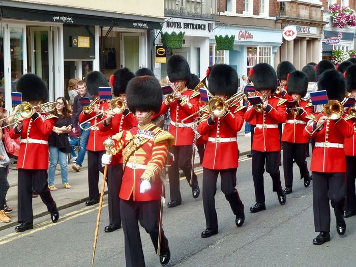 Windsor Royal Wedding Royalty Marching Band Musical Instrument Uniform Music Military Uniform Marching Band Large Group Of People Marching Parade Military Parade Real People Men Built Structure Architecture Celebration Building Exterior Outdoors Musician Day Togetherness Red Windsor