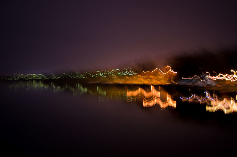 Abstract lights of the Ioannina city near lake Pamvotis. Abstract City Greece Ioannina Lake Landscape Lights Nature Night No People Pamvotis Reflection Sky Water