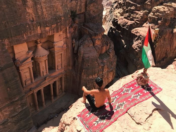 In love with Petra Jordan Jordans Petra Jordan Petra, Jordan Petra Sunlight Shadow Day One Person Nature Real People Lifestyles Built Structure Travel Travel Destinations Outdoors High Angle View Architecture Sunny Leisure Activity