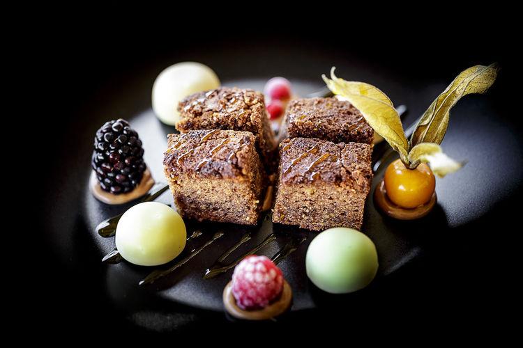 Dessert served on table