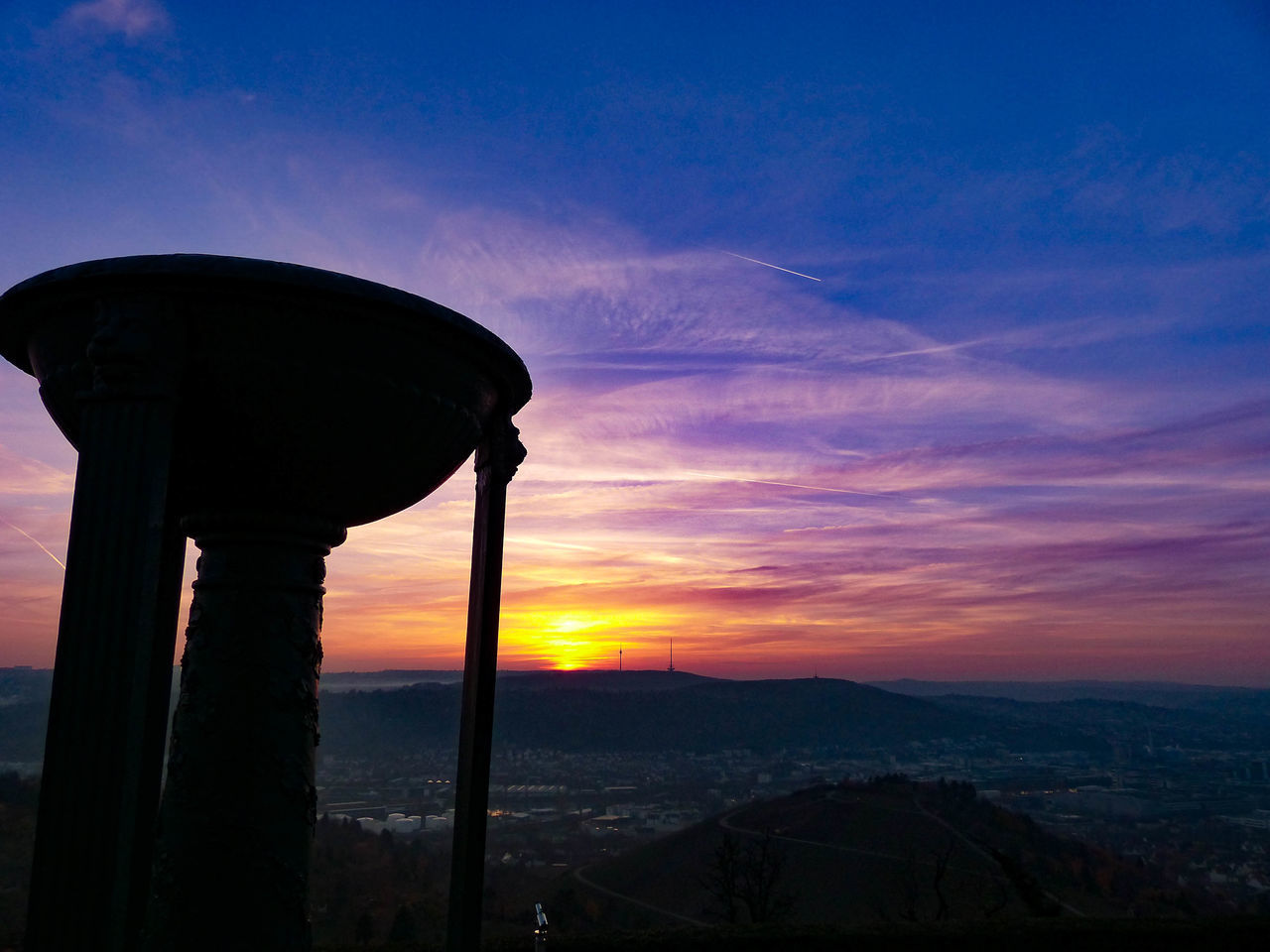 sunset, silhouette, sky, no people, nature, scenics, built structure, architecture, beauty in nature, mountain, outdoors, tranquility, landscape, water tower - storage tank, day