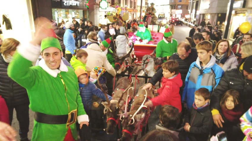 Christmas parade through the main street of Andorra Large Group Of People Multi Colored Men Women Crowd People Adult Outdoors Reindeer❤️❤️ Reindeer And Sleigh Reindeer Sighting Elf Holidays Holidays ☀ PARADE SEASON Europe Europe_gallery Andorra La Vella Andorralavella Andorra
