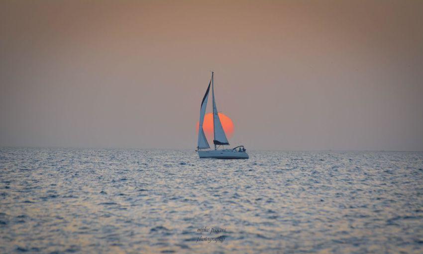 Sunset EyeEm Sunset Sea Nautical Vessel Water Mode Of Transportation Sailboat Transportation Sky Nature No People Beauty In Nature Waterfront