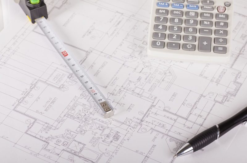 High angle view of blueprints