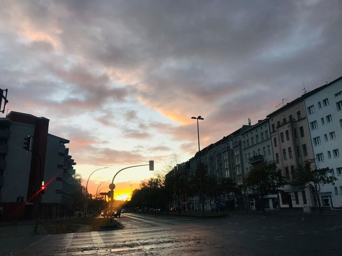 Streetphotography City Berlin Early Morning Dusk Sky City Building Exterior Architecture Cloud - Sky Street No People Built Structure Orange Color City Street Autumn Mood