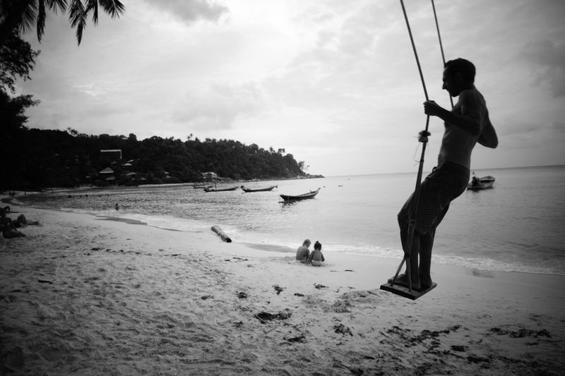 Full Length Standing Sea Horizon Over Water Swing Blackandwhite Thailand Tranquility