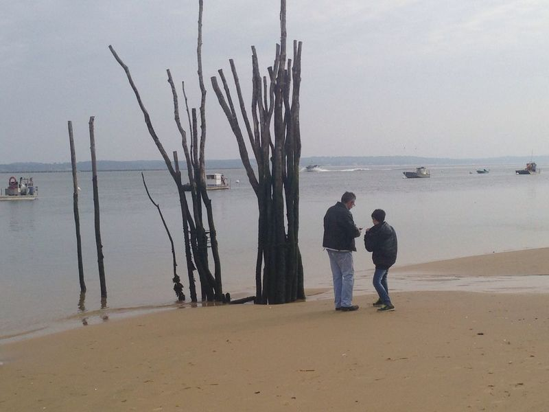 Bassin d'Arcachon Arcachon Bassin Bay Water Sea Sky Land Beach Nature Two People Men Real People Togetherness Tranquil Scene Leisure Activity Sand Horizon Over Water Tranquility