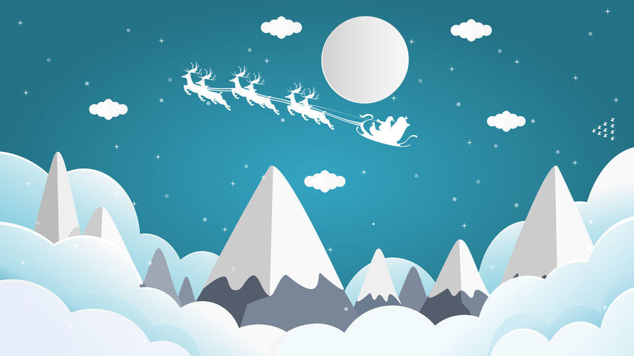 Santa Cross sits on a snowmobile with a reindeer on the sky in front of the full moon on Christmas night with snow falling over the peek of the mountain. Santa Claus Holiday No People Nature Water White Color Outdoors Shape Blue Moon Creativity Illuminated Lighting Equipment Balloon Night Animal Animal Themes Lake Sky Animal Wildlife Digital Composite Moonlight Snowing Hill Christmas