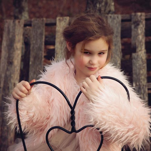 Little Girl Little Girls Little Girl Faux Fur Pink Color Beautiful People Portrait Necklace Fur Coat Close-up Fur Posing Pink Lipstick  Pink Nail Polish Blooming The Portraitist - 2019 EyeEm Awards