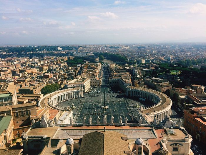 High Angle View Of St Peter Square And Cityscape Against Sky