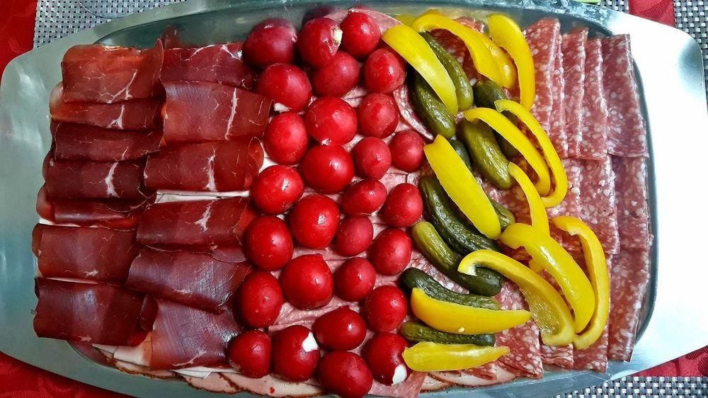 Kalte Platte Bündnerfleisch Cold Plate Cornichons Day Food Food And Drink Indoors  Kalte Platten No People Peperoni Radischen Ready-to-eat Red Schinken