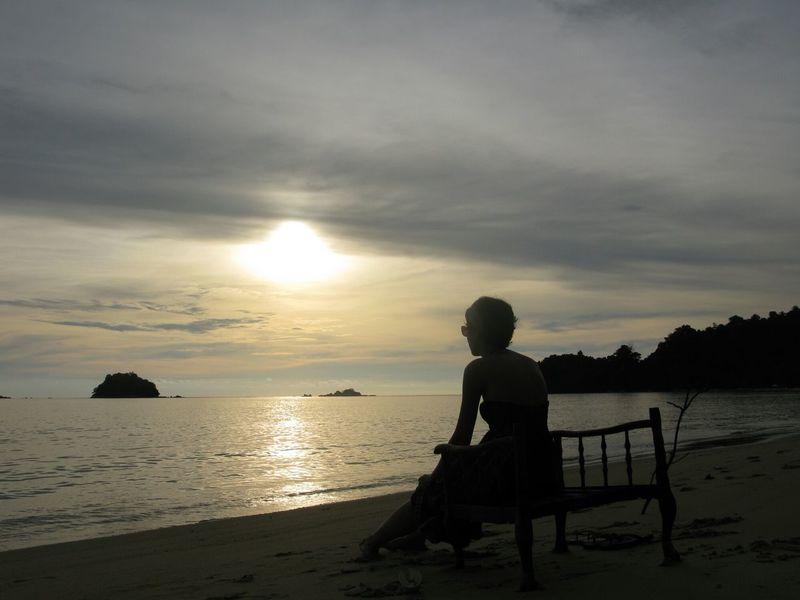 Pangkor Island Sunset Silhouettes Malaysia Beach