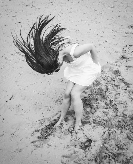 The Portraitist - 2018 EyeEm Awards Beach Child Enjoyment Females Full Length Girls Hair Hair Toss Hairstyle High Angle View Human Hair Land Leisure Activity Lifestyles Long Hair Motion Nature One Person Real People Sand Teenager Women