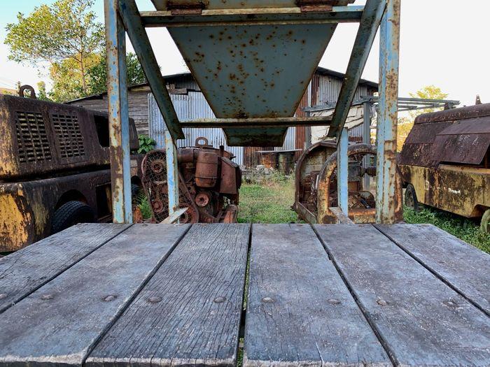 Old rusty railroad tracks against sky