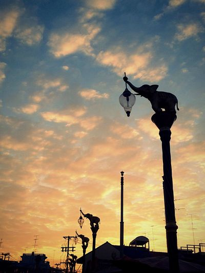 Sunset Sky Silhouette Cloud - Sky No People Low Angle View Outdoors Statue Day Electric Light Elephant Thailand Local Thai Culture Timeless Town Sunset Silhouettes Dawn EyeEmNewHere Long Goodbye
