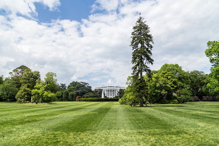 Grassy field with white house in background