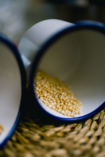 Bowl Close-up Container Corn Focus On Foreground Food Food And Drink Freshness Glasses High Angle View Indoors  Kitchen Utensil No People Raw Food Selective Focus Still Life Vegetable Wellbeing Yellow
