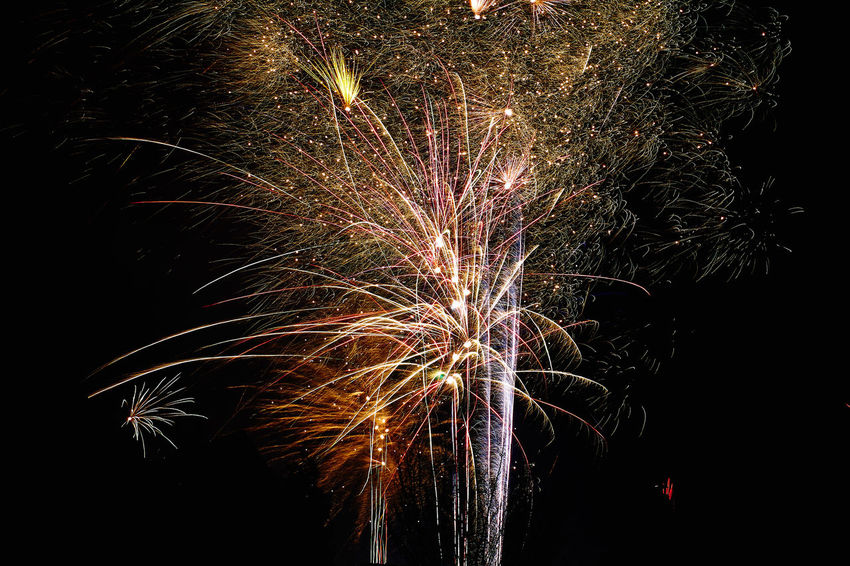 Sylvester 2017/18 Arts Culture And Entertainment Celebration Event Exploding Firework Firework - Man Made Object Firework Display Glowing Illuminated Long Exposure Low Angle View Motion Multi Colored Night No People Outdoors Sky