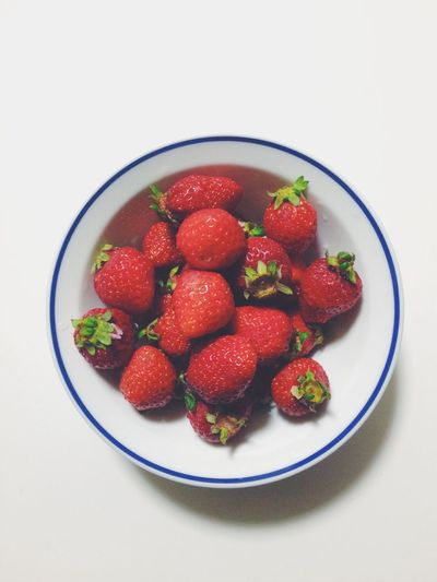 😋💕 Fruit Strawberry Food Healthy Eating Freshness Red White Background Ready-to-eat
