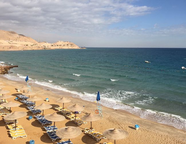 EyeEmNewHere Egypt Ein Sokhna Egypt Beach Sky Cloud - Sky Mountain Outdoors Horizon Over Water Beauty In Nature Leisure Activity Vacations Nature Visit Egypt Egyptian Sand Red Sea Yellow Blue