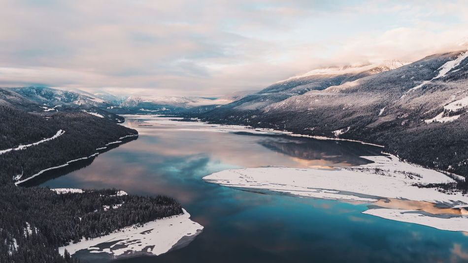 Canada Colorful Texture Background Aerial View Lake Reflection Clouds And Sky Sunset Pink Blue Mountain Mountain Range Water Frozen Skiing Snowboarding Travel Forest Nature Wild Shades Of Winter