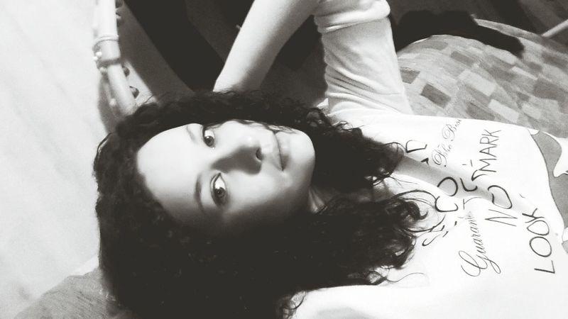 Relaxing Girl Enjoying Life Curly