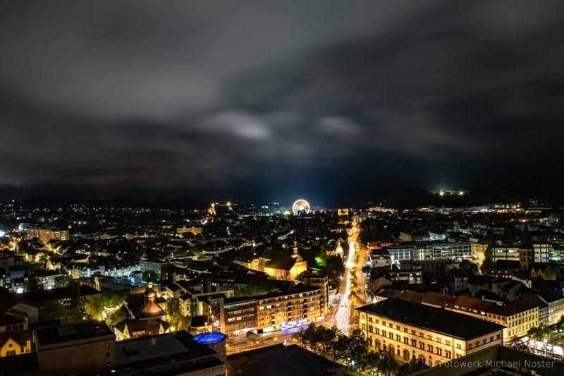 Night Dramatic Sky Nightlife Urban Skyline High Angle View City Architecture Cityscape Kaiserslautern