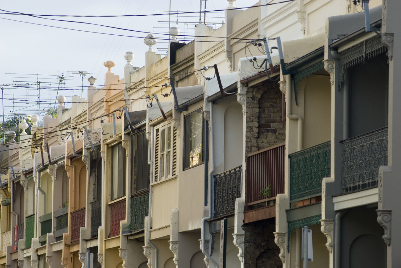 a row of terraced houses in ultimo, sydney Architecture Australia Building Building Exterior City Life Compact Conjoined House Houses Outdoors Repeating Row Side By Side Small Street Sydney
