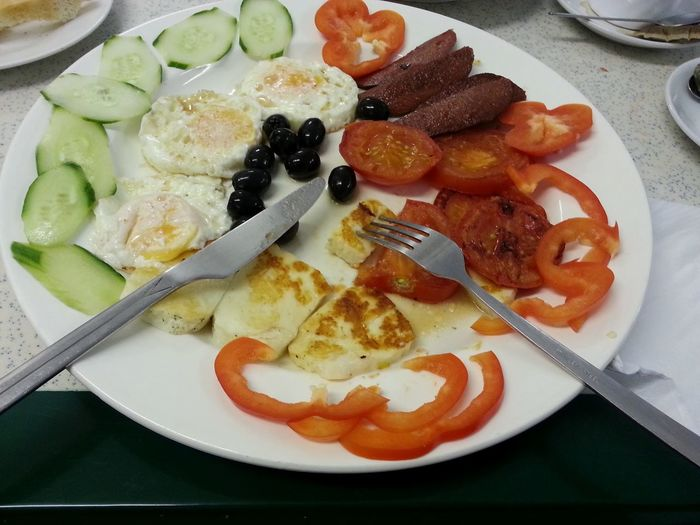 Medditerenean Breakfast Halloumi Cheese Grilled Vegetables Fried Egg Black Olives