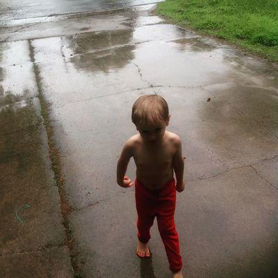 Playing in the rain Boymom RainyDays Son Lifeisgood Inlove Mommytime