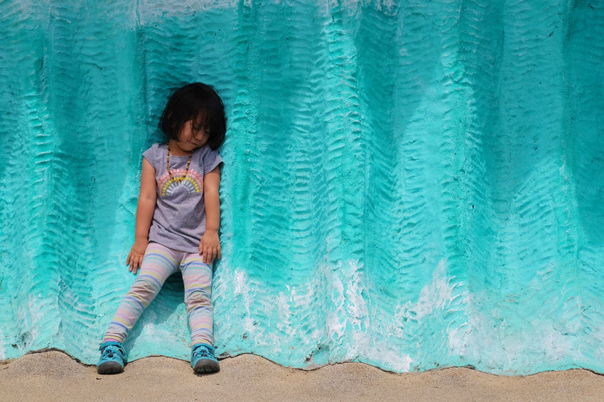 Our girl leaning on a turquoise wall 3 Years Old California Eyes Closed  Turquoise Colored Wall Blue Child Childhood Children Only Cute Day Full Length Girls Golden Gate Park Koret Children's Quarter Leaning Nature One Girl Only One Person Outdoors People Standing The Week On EyeEm Breathing Space Investing In Quality Of Life