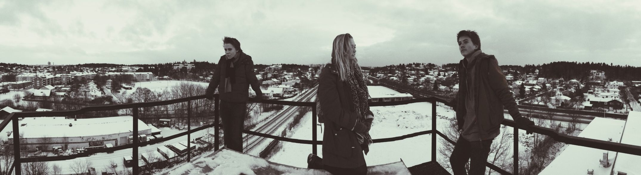 The gang on top of a chimney Friends Blackandwhite Eye4photography Panorama