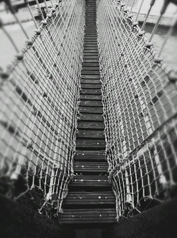 Follow me ?! Taking Photos Blackandwhite Vertigo Lines And Shapes Black And White Blackandwhite Photography Black And White Photography Black & White Bridge Check This Out Nature Getting Inspired Goodnight Taking Photos Capture The Moment Personal Perspective From My Point Of View VSCO Alone Enjoying Life Afraid Rope Rope Bridge FAR AWAY Way