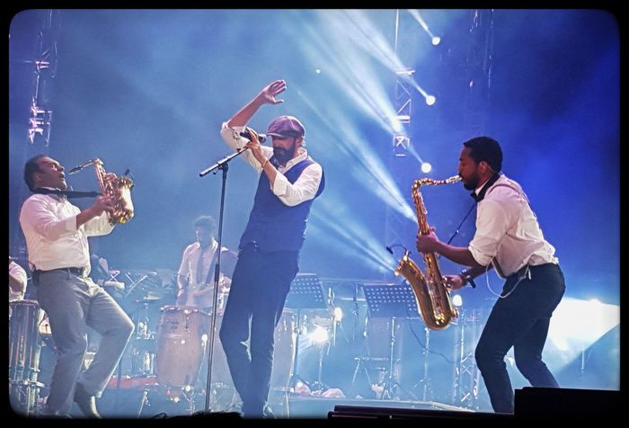 JLG Arts Culture And Entertainment Music Performance Saxofone🎷 Juanluisguerra440 Aruba Stage - Performance Space Live Event Music Festival Outside Photography Photooftheday Nightphotography Samsung Galaxy S7 Mobilephotography Summermusicfestival Saxophone Music Musician Nightlife