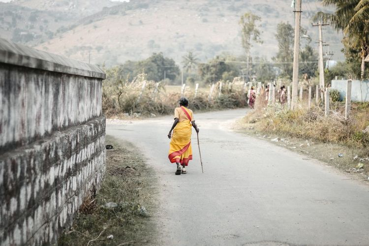 Full Length Of Woman On Road