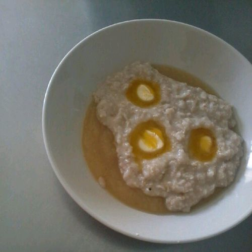 Spooky breakfast - for the daughter of course Oatmeal Applesauce  Butter