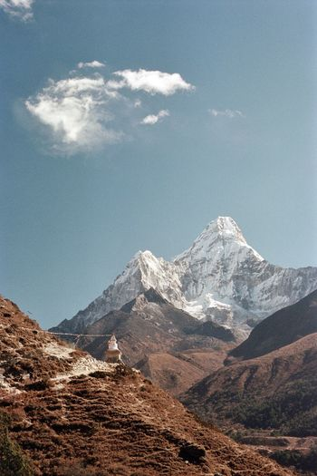 Nepal Analogue Photography 35mm Mountain Mountain Range Snow Nature Snowcapped Mountain Landscape Sky Scenics Tranquility Outdoors Adventure